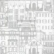 Beacon House by Brewster 2604-21257 Oxford Facade Light Grey Vintage Blueprint