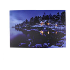 Battery Operated 3 LED Rustic Lodge Winter Scene Canvas Wall Hanging, 23.75""