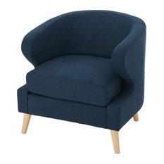 GDF Studio Gambier Petite Mid Century Fabric Club Chair, Navy Blue
