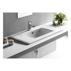 "Nameeks CA4530-820 Caracalla 29-1/6"" Ceramic Drop In Bathroom Sink with 1 Fauce"