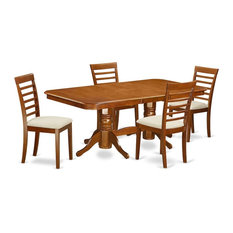 5-Piece Dining Room Set Table Leaf And 4 Chairs With Cushion