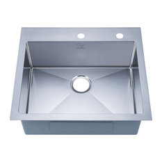 Stufurhome Overmount Stainless Steel 25 In. 2-Hole Single Bowl Kitchen Sink