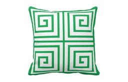 Green and White Greek Key Pillow