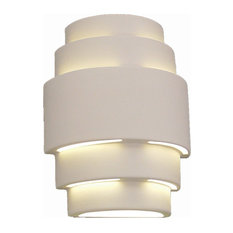 Ziggurat Outdoor Wall Light, Bisque Terra-Cotta, Open Top