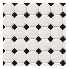 "11""x12"" White and Black Octagon Matte Mosaic, Set of 10"