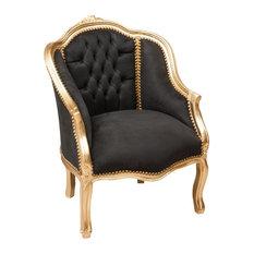 Louis XVI Wraparound Armchair, Black Velvet