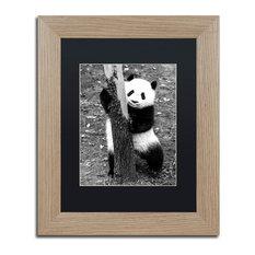 "Philippe Hugonnard 'Panda III' Art, Birch Frame, Black Matte, 14""x11"""