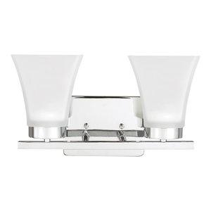 Sea Gull Lighting 2-Light Bayfield Sconce, Chrome, A19/100w