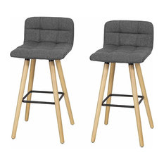 Consigned Set of 2 Bar Stools, Linen Fabric, Padded Seat for Ultimate Comfort, G