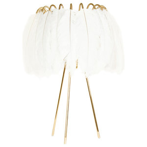 Feather Table Lamp, White