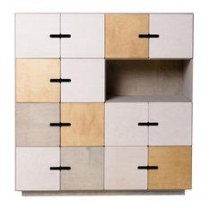 PIX Sideboard, Pebble Grey, White, Oak, 7 Cupboards