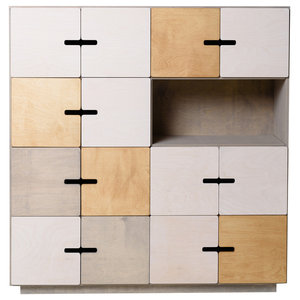PIX Sideboard, Pebble Grey, White, Oak, 7 Cupboards