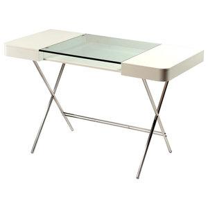 Cosimo Matte Brown Glass Top Desk, Matte White Lacquered Drawers