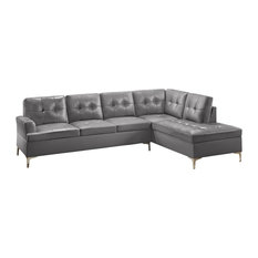 Grey Leather Sectional Sofas | Houzz
