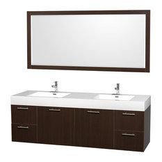 "Amare Espresso Vanity, Mirror, 72"" Double, Integrated, Acrylic-Resin"