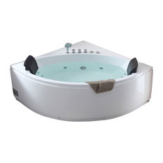 5' Rounded Modern Double Seat Corner Whirlpool Bath Tub With Fixtures