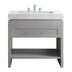 "Bolzana Vanity, Gray, 36"", Carrara Marble, Without Mirror"