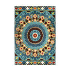 Orian Indoor/Outdoor Veranda Indo-China Area Rug, Aqua, 5