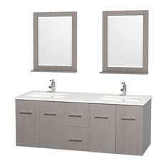 "Centra 60"" Gray Oak Double Vanity, White Man-Made Stone Top, Drop-In Square Sink"