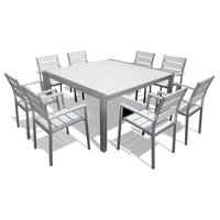 Outdoor Patio Furniture Aluminum 9-Piece Square Dining Table and Chairs Set
