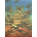 Alan Zawacki Fine Art - Tropical Caribbean Sunset, Sky and Clouds Painting, original large painting - Sky Burst is an original 40x30 acrylic sunset painting on gallery wrap canvas and ready to hang. It is painted around the edges to create a continuation of the image on all sides. This original one-of-a-kind painting captures the dramatic red and gold color palette of sunset and cloud formations, stretching from the horizon to almost overhead.