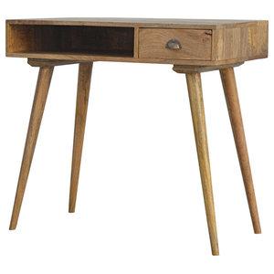 1-Drawer Desk, Oak Finish Mango Wood