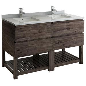 """Formosa 58"""" Open Bottom Double Sink Cabinet, FCB31-3030ACA-FS"""
