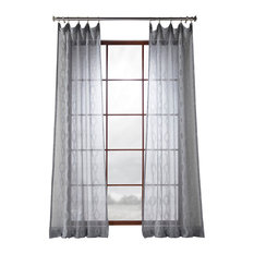 "Vega Patterned Linen Sheer Curtain, Vega Charcoal, 50""x84"""