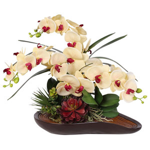 Real Touch Yellow With Beauty Center Orchid in a Curved Bowl