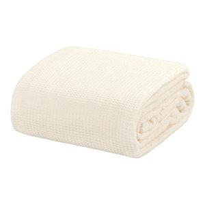Crover Collection All Season Thermal Waffle Cotton Blanket, Ivory, Twin