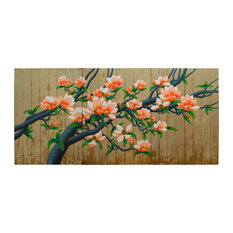 Wooden Wall Hanging Panels, Spring Flower Painting, Magnolia