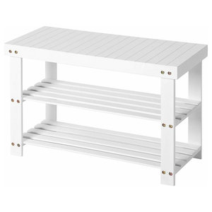 Shoe Storage Rack, Bamboo Wood With 3 Open Shelves, Contemporary Design, White