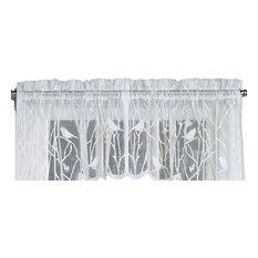 "Songbird White Lace Kitchen Curtain, 56""x12"" Valance"