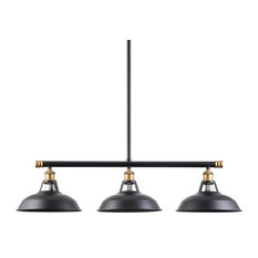 Olivera Kitchen Island Light With LED Bulb, Antique Brass With Black