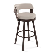 Swivel Stool With Upholstered Seat and Back, Spectator Height