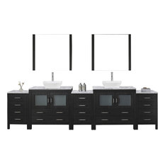"Dior 126"" Double Bathroom Vanity Set Zebra Gray, Marble Top, Vessel Sink"