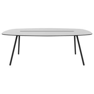 Medium A-Lowha Long Board Table, Grey, Black Frame