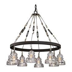 Troy Lighting Menlo Park 8-Light Medium Chandelier, Deep Bronze