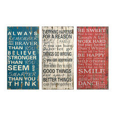Imax 97087-3 Rules of MDF Life Wall Decor, Set of 3