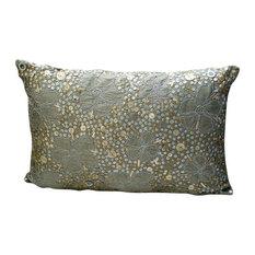 The HomeCentric   Metallic Sequins Flower 12x16 Art Silk Silver Lumbar  Pillow Cover, Mystic Silks