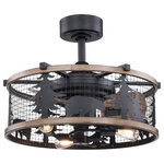 """Vaxcel - Kodiak Bear 21"""" Bronze and Teak Rustic Indoor Ceiling Fan Light Kit Remote - Get wild with this indoor-outdoor drum style fan called Kodiak. The pairing of the black and burnished teak finishes enhance the on-trend metal cage perfectly. Capture your love of nature with pine tree and bear silhouettes. It is a great choice for a vacation lodge, cabin or suburban home and will complement a variety of home styles: anywhere you want to bring an element of nature. An LED light source provides energy saving, low maintenance and long-lasting performance. Combine that with vintage Edison style filament bulbs to complete the look. Rated for damp locations, ideal for your covered porch, family room, or any other area of your home."""