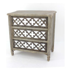 Homeroots Furniture, Art Deco Wooden Mirror Cabinet With 3-Drawer