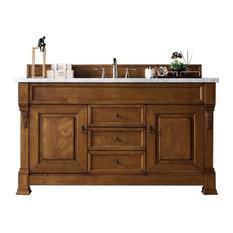 "Brookfield 60"" Vanity, Country Oak, 2cm Santa Cecilia Granite Top"