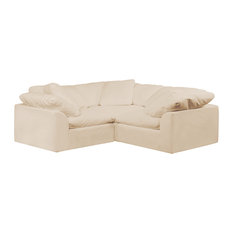 Cloud Puff 3 Piece Slipcovered Modular L Shaped Sofa, Performance Tan