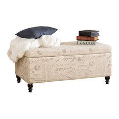 GDF Studio Cerise Fabric Storage Ottoman Bench With French Script