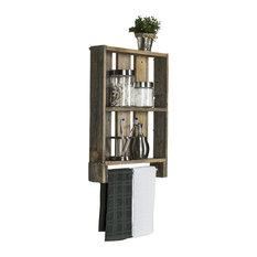 Del Hutson Designs - Reclaimed Wood Plank Shelf With Towel Bar, Barnwood - Bathroom Shelves