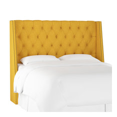 Williams King Nail Button Tufted Wingback Headboard Linen French Yellow