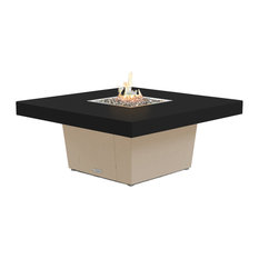 Square Fire Pit Table, 48x48, Chat Height, Propane, Black Powdercoat Top, Beige