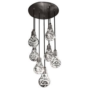 Handmade Pendant With 7 Lantern Bulbs, Matte Silver, Large Bulbs