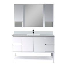 """Monaco 48"""" Vanity Set With Mirror and Wall Cabinets, Matte White"""